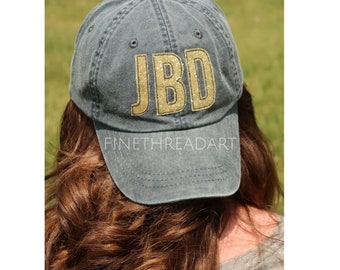 LADIES Gold Glitter Applique Monogram Initials Mrs. Wedding Baseball Cap Hat LEATHER strap Beach Girls Trip Pigment Dye