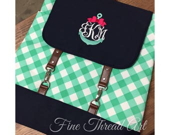 Gingham Backpack with Monogram for Back to School Mint Green Navy Coral Flap Backpack Small Diaper Bag