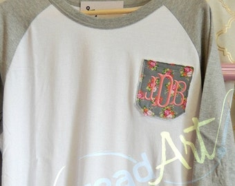 Monogram Floral Pocket Baseball Tee TShirt Raglan Sleeve Shirt Team Colors Little League Mom Plus Size Available Bachelorette Bridal Party