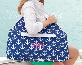 Navy Anchor or Aqua Seahorse Beach Bag Tote Duffle Large Pocket Nautical Cruise Travel with Monogram or Name
