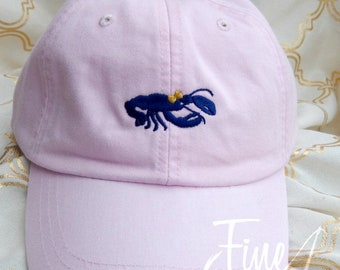 LADIES Crawfish Lobster with Bow Medium Design Baseball Cap Hat LEATHER strap Monogram Preppy Summer Bachelorette Pigment Dyed