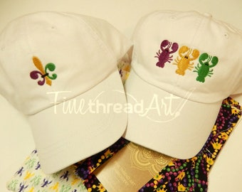 Mardi Gras Adult Hat Crawfish Lobster Fleur de Lis Parade Krewe Baseball Cap Hat LEATHER strap Mom Bridesmaid Bachelorette Pigment Dyed