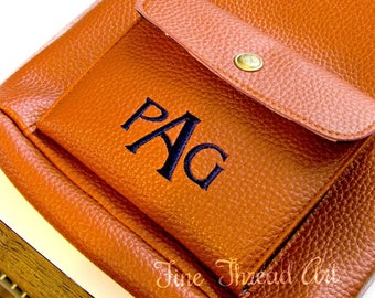 Monogram Cross Body Purse Faux Leather Pebble Grain Navy Turquoise Kiwi Camel Burnt Orange Bag Crossbody