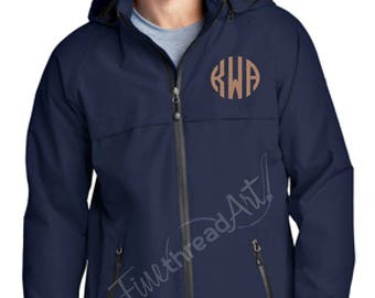 Monogram Unisex or Men's Rain Coat Jacket Slicker Zip Up with Hood Plus Size available Ladies Also