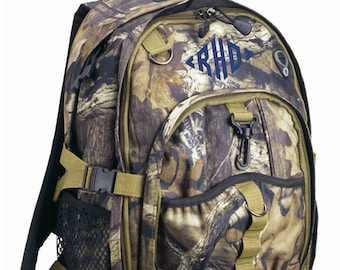 Mossy Oak Camo Backpack with Monogram for Back to School Boy Backpack Camouflage Green Tan Black Hunting Outdoors