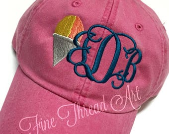 LADIES Snow Cone Monogram Baseball Cap Hat LEATHER strap Mom Bridesmaid Bride Bachelorette Pigment Dyed Snocone Snowball Shaved Ice Summer