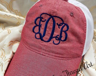 Ladies Chambray Trucker Monogram Hat