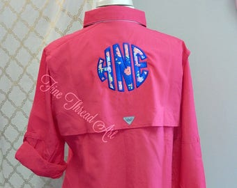 Ladies Columbia PFG Long Sleeve Shirt with Applique Circle Floral Monogram for Button Down with Pocket Bridal Party Fishing Shirt Cover Up