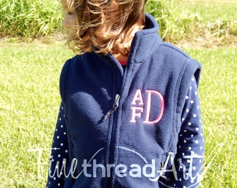 KIDS Size Monogram Fleece Vest with Pockets Zip Up Layering Piece Kids Child Boy or Girl Youth