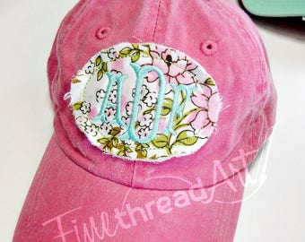 KIDS Floral Applique Monogram Baseball Cap Hat LEATHER strap Flower Floral Coral Blue Pink Summer Beach Girls Trip Vacation Pigment Dyed