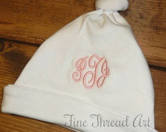 Infant White Cotton Knit Hat Monogram Knot Hat Boy or Girl Gender Neutral Initials or Name Baby Shower Gift Christmas Valentines