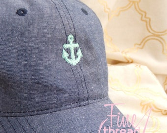 LADIES Mini Anchor Hat with Side Monogram Chambray Baseball Cap Hat Blue Denim Jean Nautical Beach Vacation Cruise