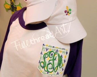 Mardi Gras Monogram Pocket Baseball Tee TShirt Raglan Sleeve Shirt Krewe Plus Size Available Crawfish Louisiana New Orleans Parade