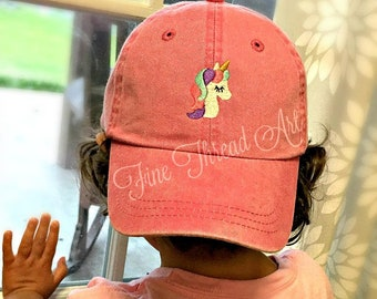 KIDS Unicorn Baseball Cap Hat Leather Strap Dad Hat Youth Child Girl Children