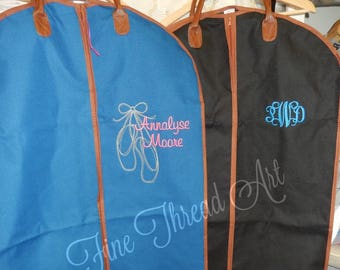 TURQUOISE ONLY Suit or Garment Bag with Cognac Faux Leather Trim Dancing Costumes Travel Cruise with Monogram Plus Ballet Design Tutu Dancer