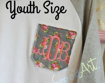 YOUTH SIZE Floral Pocket Monogram Baseball Tee TShirt Raglan Sleeve Shirt Team Colors Little League Softball TBall Mom and Me Shirts Flower