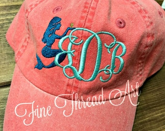 LADIES Mermaid Monogram Baseball Cap Hat LEATHER strap Mom Bridesmaid Bride Bachelorette Pigment Dyed Nautical Beach Summer