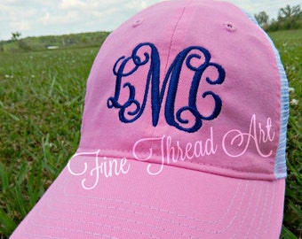 Ladies Trucker Monogram Mesh Back Baseball Cap Hat Mom Bridesmaid Bride Bachelorette Summer Beach Hat Trucker Hat