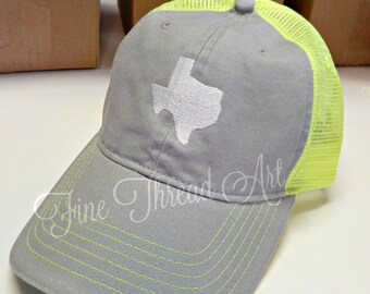 LADIES 2 Inch State Trucker Monogram Mesh Back Baseball Cap Hat Mom Bridesmaid Bride Bachelorette Beach 50 States Louisiana Texas Carolina