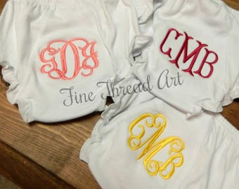 White Cotton Knit Monogram Baby Bloomers Diaper Cover with Snaps Initials or Name