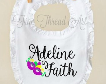 Mardi Gras Monogram Ruffle Bib in White for Infant Baby Girl Name Mardi Gras Mask Carnival New Orleans Fat Tuesday