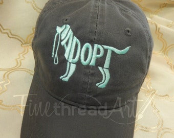 LADIES or Adult Size Adopt Dog Cap Hat FABRIC strap Adult or Ladies Size Farm Rescue Dog Mutt Adopt Pet Dog Mom