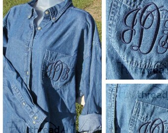 Monogram Unisex Denim Button Down Oxford Shirt with Pocket Sewn Closed Plus Size Available Heavyweight Jean