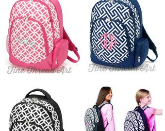 Backpack with Monogram for Back to School Pink Navy Circles Black Greek Key