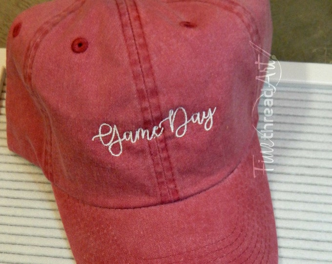 Featured listing image: LADIES Game Day Hat with Side Monogram Baseball Cap LEATHER strap Pigment Dyed Fall Team Colors High School College Football Mom Gameday