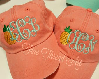 LADIES Pineapple Monogram Baseball Cap Hat LEATHER strap Mom Bridesmaid Bride Bachelorette Pigment Dyed Nautical Beach Summer Hawaii