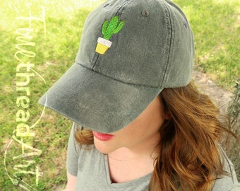 LADIES Cactus Dad Hat with Side Monogram Baseball Cap LEATHER strap Pigment Dyed Succulent Plant Lady Gardening Garden