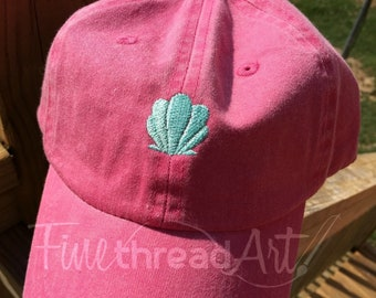 KIDS Size Seashell Mini Design Baseball Cap Hat Leather Strap Nautical Beach Sea Shell Mermaid Coast Vacation Girls Trip