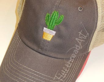 Ladies Trucker Hat Cactus Mini Design Mesh Back Baseball Cap Hat Mom Bridesmaid Bride Bachelorette Beach