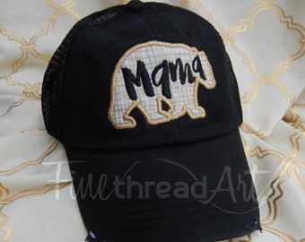 Mama Bear Distressed Trucker Hat Adjustable Baseball Cap Mom Mother Mother's Day Mom to Be Shower Gift Metallic Dad Hat