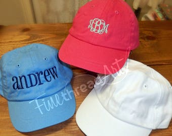 2965a6ce3bf Infant or Small Toddler Monogram Baseball Cap Hat for Girls Boys Kids Youth  Size Name Initials