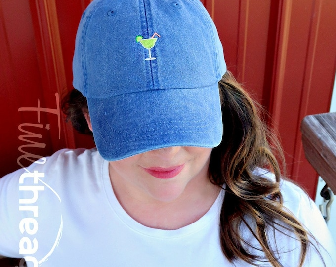 Featured listing image: LADIES Margarita Hat with Side Monogram Baseball Cap LEATHER strap Bridesmaid Bride Bachelorette Pigment Dyed Summer Beach Vacation Cruise
