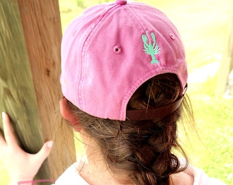 Add On Monogram Embroidery to the Back of Any Purchased Hat from Our Shop Sewn On Mini Crawfish Lobster Anchor Flamingo Sea Horse Star Fish