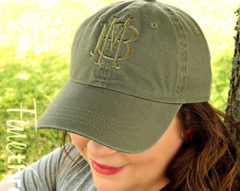 LADIES Tone on Tone Two Letter Layered Monogram Baseball Cap Hat FABRIC strap Adult or Ladies Size Olive Green Pastel Gold