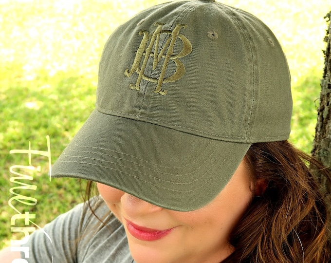 Featured listing image: LADIES Tone on Tone Two Letter Layered Monogram Baseball Cap Hat FABRIC strap Adult or Ladies Size Olive Green Pastel Gold