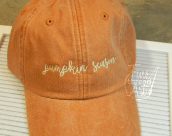 LADIES Pumpkin Season Hat with Side Monogram Baseball Cap LEATHER strap Pigment Dyed Fall Halloween Spice Pumpkin Everything Preppy Autumn