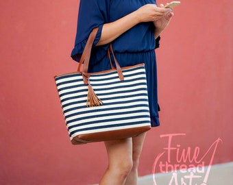Navy and White Stripe Tote Bag with Brown Camel Faux leather Trim and Tassel and Gold Accents Travel Carry On Luggage Set
