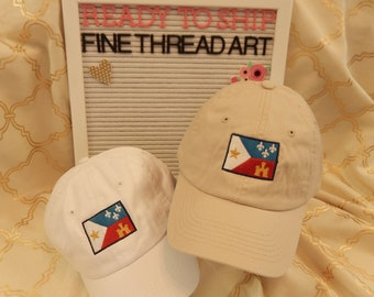 Ready to Ship KIDS Child Youth Baseball Hat White Khaki with Acadiana Flag Louisiana LA State Lafayette Cajun Acadian