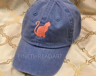Kids or Adult Ladies Size Cat Mini Design Baseball Cap Hat Leather Strap Beach hat Vacation Tabby Calico Cat Lady Monogram Kitty Kitten Hat