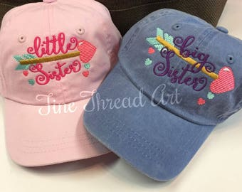 55854066e41 KIDS Big Sister Little Sister Baseball Cap Hat Leather Strap Dad Hat Youth  Child Girl Children