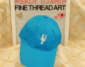 Ready to Ship Kids Child Youth Baseball Hat Cap Neon Blue Turquoise with White Crawfish Lobster