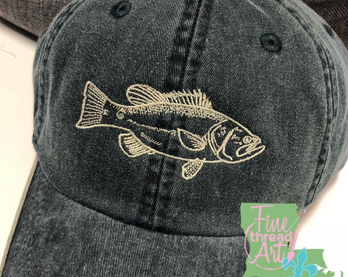 Featured listing image: ADULT Bass Fish Monogram Baseball Cap Hat LEATHER strap Fishing Lure Fly Fishing Travel Camp Boat Outdoors Summer Father's Day