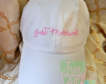 Adult or Ladies Just Married Wedding Baseball Cap Hat LEATHER strap Preppy Bridal Party Bride Bridesmaid Honeymoon Bachelorette Party Trip