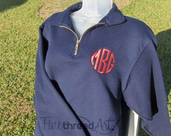 Monogram Quarter Zip Sweatshirt Jacket Ladies with Collar Plus Size Available 2X 3X