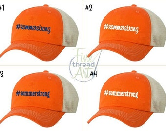 Sommerstrong Orange Trucker Hat or Visor with Choice of Navy or White Thread and Script or Print Font