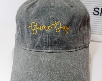 READY TO SHIP Game Day Adult Hat Vintage Gray Black and Gold Dad Hat Ladies Men Size football Mom Friday Night Tailgate Who Dat